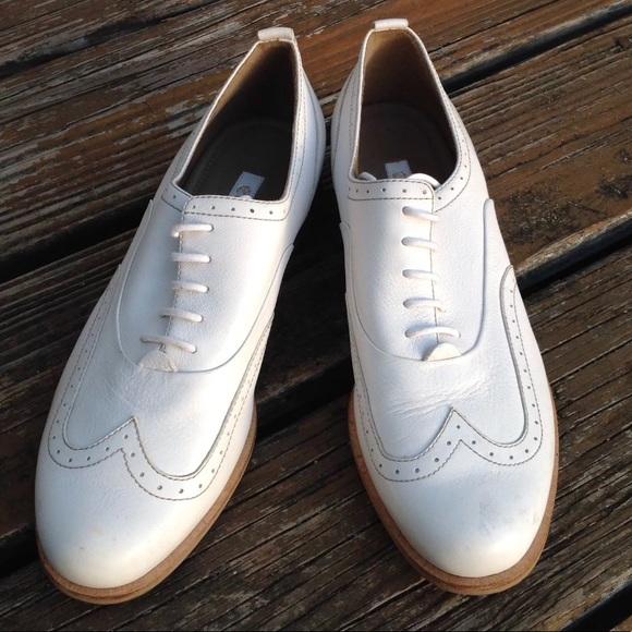 Ecco White Wingtip Oxford Brogue Dress